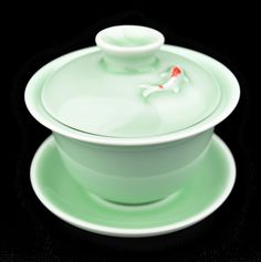 Koi in Emerald Glazed Gaiwan for Gong Fu Tea 120ml
