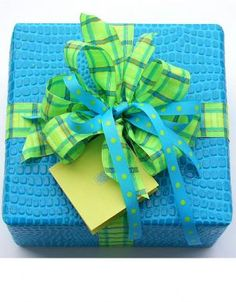 turquoise crocodile paper w/ lime