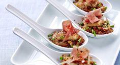 Foie gras en 2 cuissons, rhubarbe et jambon de BayonneDécouvrez la recette des bouchées foie gras en 2 cuissons, rhubarbe et jambon de Bayonne