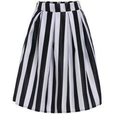 SheIn(sheinside) Black White Vertical Stripe Flare Skirt (1550 RSD) ❤ liked on Polyvore