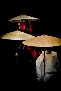 Japanese Priests with Umbrellas, Nara Japan