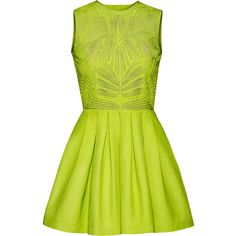 Dress - from H&M ($70) ❤ liked on Polyvore featuring dresses, vestidos, short dresses, green, flared dresses, short green dress, short cocktail dresses and short mini dress