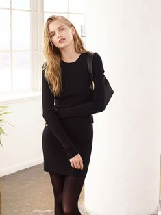 Elizabeth and James | Fall 2016 Ready-to-Wear | 28 Black knit long sleeve mini dress