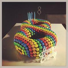 Rainbow M&M's birthday cake - 8 years old