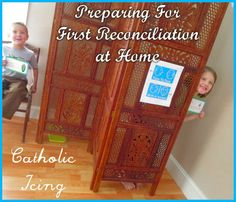Practicing for First Reconciliation. These printables make it so easy! Includes pretend confession cards, and signs you can print to create your own pretend confessional.