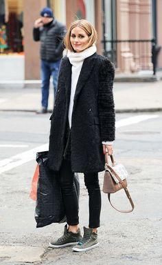 On Olivia Palermo: Iris von Arnim Sweater Merano ($1081); Hayward Mini-Maggie Bag; Max&Co. Canvas Trainers ($185).