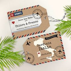 Airmail Luggage Tag Save the Date on Kraft Paper by Designkandy