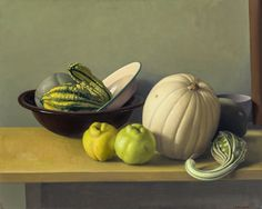 Still Life with Quinces and White Pumpkin | From a unique collection of still-life paintings at https://www.1stdibs.com/art/paintings/still-life-paintings/