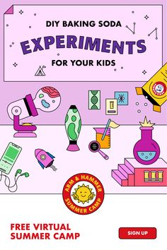 Find STEM experiments for kids with ARM & HAMMER™ Baking Soda. Homemade lava lamp, tie-dye slime DIY recipe, and more. Spark creativity with our free virtual, on-demand summer camp, available any time. Kick back and camp. Sign up! Science Projects For Kids, Science Activities For Kids, Preschool Science, Learning Activities, Preschool Activities, Steam Activities, Summer Camps For Kids, Slime, Science Experiments Kids