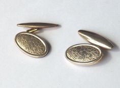 Vintage CHAINLINK CUFFLINKS Gold Tone with Oval Patterned Faces FREE P&P