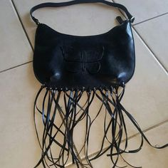 Black Butterfly Purse Detailed with hanging fringe Bags