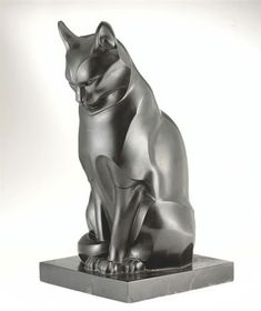 'An Important and Unique Cat' marble sculpture | Edouard-Marcel Sandoz (1881-1971) | Swiss sculptor associated with Art Nouveau and Art Deco movements and the Haviland Limoges Company. via Sotheby's