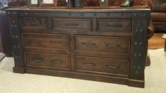 Handcrafted from solid alder wood and distressed for a more rustic look! Dresser pictured with honey stain and black glaze but you can customize it with a variety of stains and glazes. Lodge Furniture, Western Furniture, Custom Furniture, Bedroom Furniture, 7 Drawer Dresser, Mountain Style, Furniture Making, Westerns, Elegant