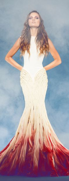 Jean Louis Sabaji Couture F/W, non-white wedding dress with red hem - like a beta fish // Pinned by Dauphine Magazine x Castlefield - Curated by Castlefield Bridal & Branding Atelier and delivering the ultimate experience for the haute couture connoisseur! Visit www.dauphinemagazine.com, @dauphinemagazine on Instagram, and @dauphinemag on Pinterest • Visit Castlefield: www.castlefield.co and @ castlefieldco on Instagram / Luxury, haute couture, fashion, weddings, bridal