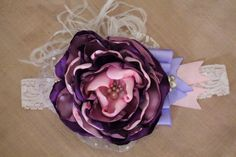 Pink and Purple Headband Over the top Hair Bow by AldonasBoutique,