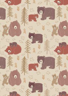 Big Bear - Little Bear. Big Bear-Little Bear on Milky Tea Bear Wallpaper, Pattern Wallpaper, Iphone Wallpaper, Bear Illustration, Pattern Illustration, Gift Wrapper, Bear Print, Cotton Quilting Fabric, Cute Bears