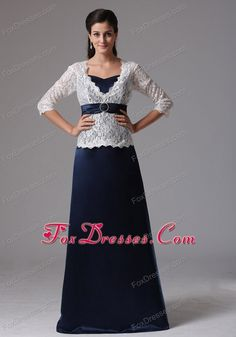 White and Blue Mother of The Bride Dress with Long Sleeves