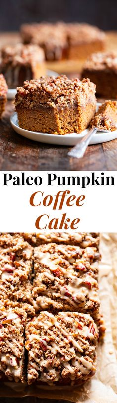 This Paleo Pumpkin Coffee Cake has it all! Moist cake with sweet fall spices topped with an addicting crumb topping and maple icing! Fancy enough to serve to brunch guests but so delicious that you'll want to have some to snack on all season long! Gluten Free Pumpkin, Gluten Free Baking, Pumpkin Recipes, Healthy Baking, Paleo Recipes, Baking Recipes, Dessert Recipes, Vegan Pumpkin, Meat Recipes