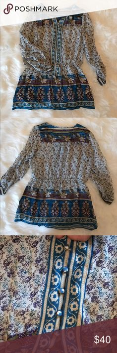 Lucky Brand Boho Flowy Top/ Tunic Gorgeous bohemian tunic/top by Lucky Brand. Like-New condition and perfect for summer! Make an offer! Free People Tops Tunics