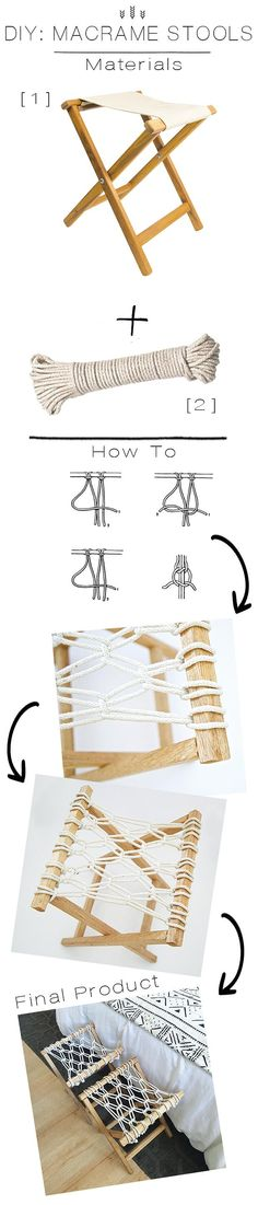 JDP Interiors | DIY: Macrame Stools                                                                                                                                                     More