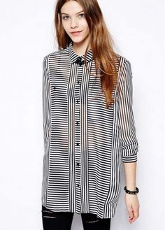 European Style Long Sleeve Stripes Blouse for Woman
