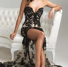 Night Moves 6724 Black/Nude Hi-Lo Dress