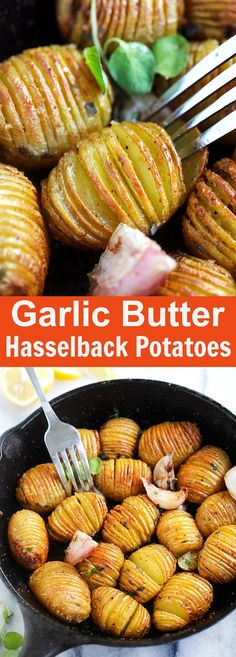 Garlic Butter Hasselback Potatoes - easy roasted potatoes with garlic and butter. Each potato is cut and sliced to form the Hasselback shape. Bake in oven for 40 minutes and you'll have the most amazing side dish   rasamalaysia.com