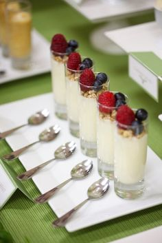 get a glass cup at fill it up with yogurt then at the top sprinkle it with granola until you can t see the top layer of the yogurt  then add some fruit slices!