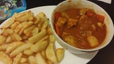 Homemade chicken curry with slimming world chips. Lots of speed in the curry