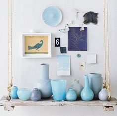 floating shelf idea and love the blue