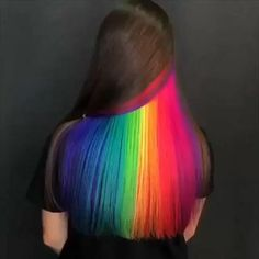 Peekaboo Hair Colors, Cute Hair Colors, Pretty Hair Color, Hair Color Purple, Hair Dye Colors, Peekaboo Highlights, Amazing Hair Color, Rainbow Hair Highlights, Vivid Hair Color
