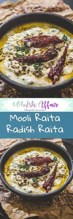 Mooli Raita Recipe or Radish Raita is a crunchy, yet sweetish spicy yoghurt preparation tempered with aromatic spices. It is very quick and easy to prepare. Easy Veg Recipes, Veg Recipes Of India, Indian Food Recipes, Cooking Recipes, Healthy Recipes, Indian Salads, Indian Snacks, Indian Dishes, Vegetarian Cooking