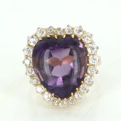 Pre-Owned Antique Victorian Heart Amethyst Diamond Cocktail Ring... ($1,895) ❤ liked on Polyvore featuring jewelry, rings, gold diamond rings, diamond rings, vintage amethyst ring, 14k yellow gold ring and 14k gold ring
