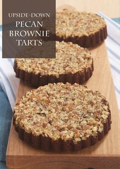 This tasty Upside Down Pecan Brownie Tart recipe makes a perfect mini dessert. Serve it with some ice cream at your holiday parties this year!