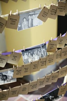 Bridal Bliss Wedding: Love the addition of old family photos mixed in with the escort cards