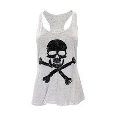 Skull And Crossbones Racerback Tank ($1.99) ❤ liked on Polyvore featuring tops, shirts, tank tops, tanks, blusas, lightweight shirt, racerback tank top, glitter shirt, glitter tank top and ivory tank
