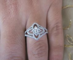 18k white gold ladies micro pave halo diamond ring, $1299.00
