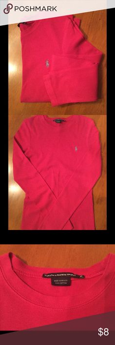 RL POLO Medium Hit Pink Long Sleeve Top EUC Women's Size Medium Polo by Ralph Lauren Hot Pink Long Sleeve Top with Light Blue Embroidered Polo Insignia. EUC. Bundle & Save on Shipping. Polo by Ralph Lauren Tops Tees - Long Sleeve