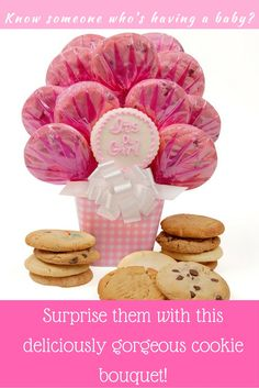"""Baby Girl Gingham Cookie Bouquet - $59.99 Resembling a gingham blanket, this melamine pot is brimming with twelve assorted gourmet cookies including a hand decorated cutout announcing """"It's a Girl"""". Baby Girl Gingham Bouquet Includes: • Buttercream Frosted """"It's A Girl"""" Cutout Cookie • 2 Chocolate Chip Cookies • 2 Oatmeal Raisin Cookies • 2 Sugar Cookies • 2 Peanut Butter Cookies • 2 M and M Cookies • 1 White Chocolate Chip Cookie Ships from OH - Standard Delivery $14.95 (2-5 Business Days)"""