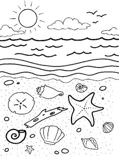 Beach With Shells Coloring Page