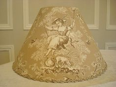 GORGEOUS TOILE DE JOUY FRENCH DESIGNER FABRIC LAMPSHADE 20 x 30cm GIRL ON SWING