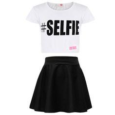 A2Z 4 Kids® Kids Girls Comic Graffiti Scribble Leopard #SELFIE #No Filter #Love NYC Paris New York 76 Epic OMG Printed Fashion Crop Top & Stylish Black Skater Skirt Set 7-13 Years