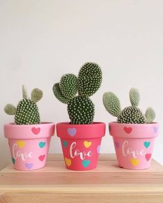Painted terracotta pots for cactus Flower Pot Crafts, Clay Pot Crafts, Diy Clay, Diy And Crafts, Painted Plant Pots, Painted Flower Pots, Green Cactus, Love Is In The Air, Cactus Y Suculentas