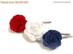 Flower Bobby Pin Set Red White and Blue 4th of July Fourth of July Made in USA Patriotic Hair Accessories All American Girl Hair Pin Set by foreverandrea on Etsy