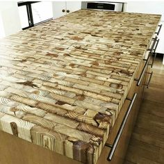 Wood Countertops End grain kitchen island countertop made from reclaimed Detroit lumber… Table Palette, Into The Woods, Wood Design, Wood Table, Diy Table, Wood Furniture, Furniture Design, Woodworking Plans, Woodworking Projects