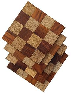 Special Price - Drink Coasters - SouvNear 4 Inches Set of 4 Square with Checkered Pattern Wood Table Coasters ** Details can be found by clicking on the image.