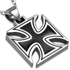 Stainless Steel 2 tone Pattee Cross Biker Pendant with chain necklace