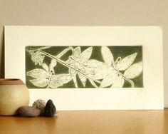 Original Etching Print Mezzotint HAWAII LEAVES by AnaDoraArt
