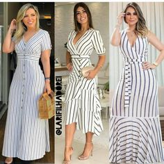 Image may contain: 3 people, people standing and stripes Casual Day Dresses, Cute Dresses, Beautiful Dresses, African Maxi Dresses, Indian Fashion Dresses, Chic Outfits, Fashion Outfits, Designer Party Wear Dresses, Dress Neck Designs