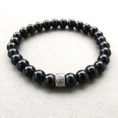 Mens semi-precious black agate beaded stretch bracelet with tibetan style patterned bead 2